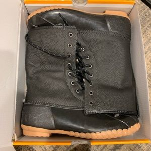 NIB Sporto Black Lace Up Duck Boots Camping 10